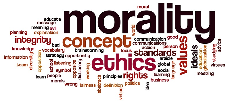 An Image explaining the integral parts of Morality like Ethics, Integrity, Concept, Values and many more.